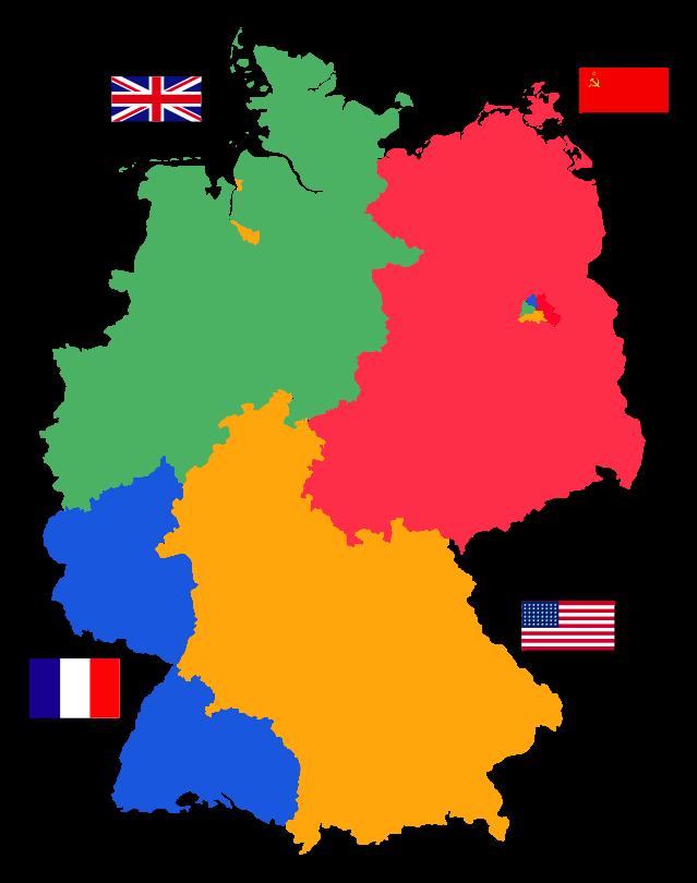 نقشه تقسیم آلمان پس از جنگ جهانی دوم