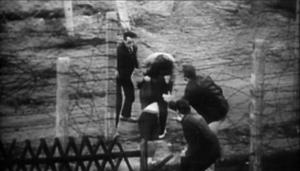 یک خانم در حال فرار به سیم خاردار برخورد می کند