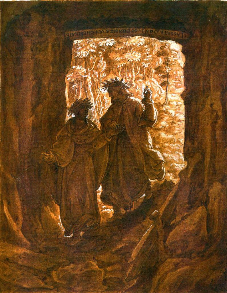 ویرژیل و دانته جلوی ورودی جهنم، اثر یان ون در استرات