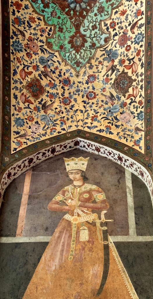 نقاشی شاهزاده قاجار، عباس میرزا در باغ فین کاشان - عکس از عباس ملک حسینی
