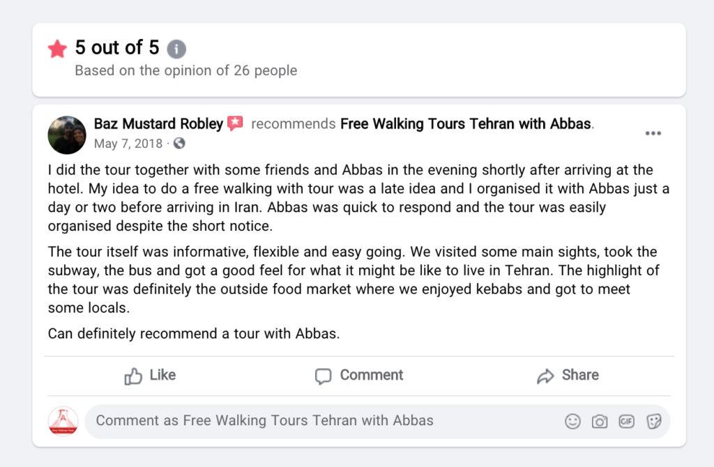 نظر یکی از کاربران تورهای تهرانگردی با عباس